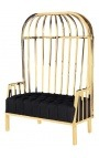 """Large porters chair """"Helios"""" in gold finish stainless steel and black linen"""