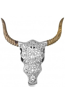 "Trophy wall decoration in aluminum and wood ""Bull's head"""