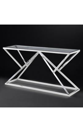 """Console """"Calypso"""" en acier inoxydable argenté et plateau en verre"""