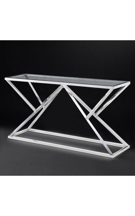 Консоль «Калипсо» из серебристой нержавеющей стали и стекла