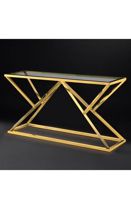 """Console """"Calypso"""" en acier inoxydable doré et plateau en verre"""