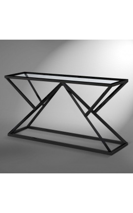 "Console ""Calypso"" in stainless steel black matte finish and glass top"
