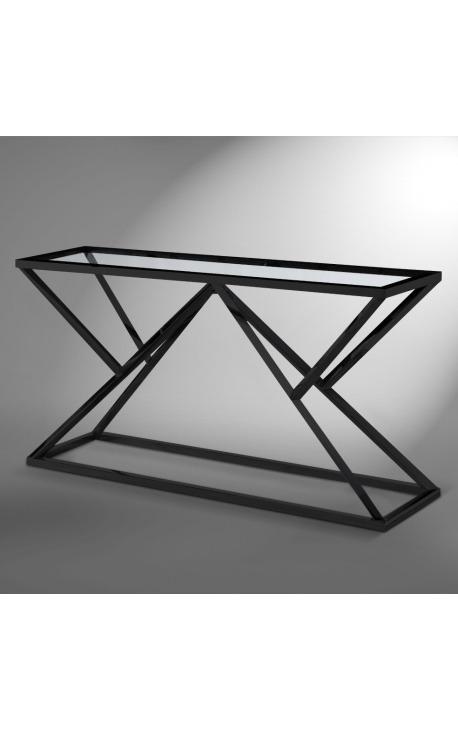 """Console """"Calypso"""" en acier inoxydable noir mat et plateau en verre"""