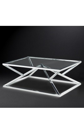 "Coffee table ""Calypso"" in stainless steel silver finish and glass top"