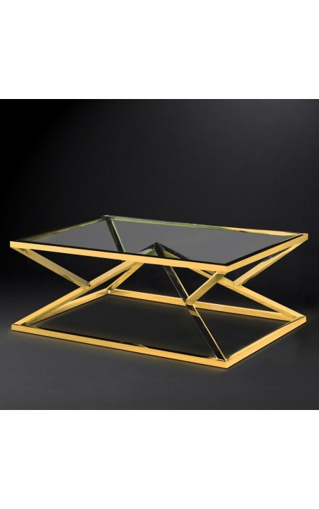 "Coffee table ""Calypso"" in stainless steel gold finish and glass top"