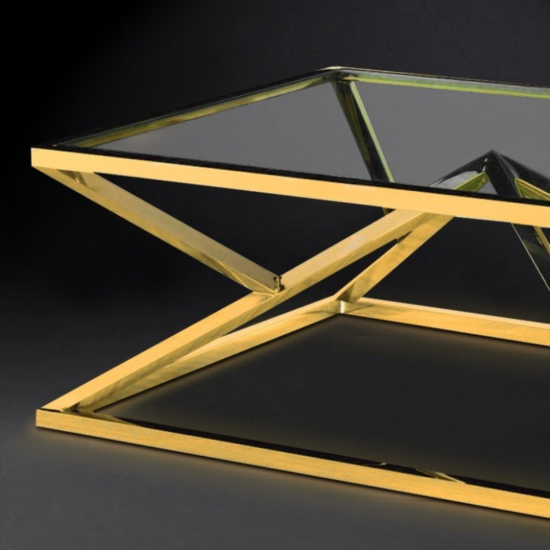 """Coffee Table """"Calypso"""" In Stainless Steel Gold Finish And"""