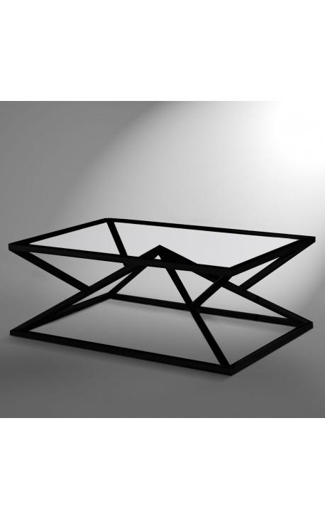 """Table basse """"Calypso"""" en acier inoxydable noir mat et plateau en verre"""