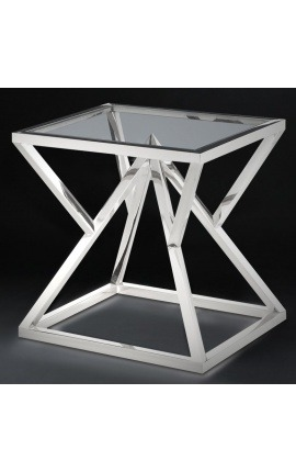 "Side table ""Calypso"" in silver-finish stainless steel and glass top"