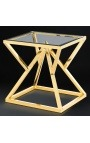 """Side table """"Calypso"""" in gold-finish stainless steel and glass top"""