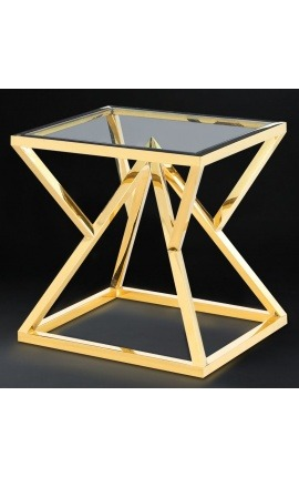 "Side table ""Calypso"" in gold-finish stainless steel and glass top"