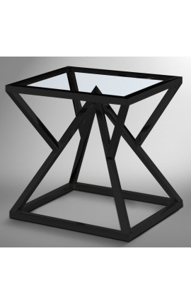 "Side table ""Calypso"" in black matte finish stainless steel and glass top"
