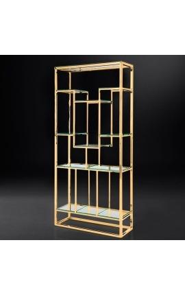 Шкаф для хранения «Gaia» в позолоченной нержавеющей стали и стеклянных полках