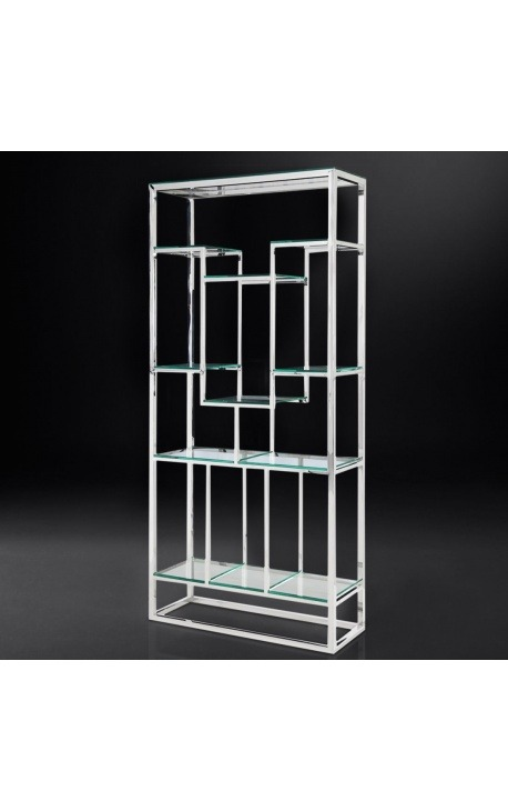 "Storage cabinet ""Gaia"" silver finish stainless steel and glass shelves"