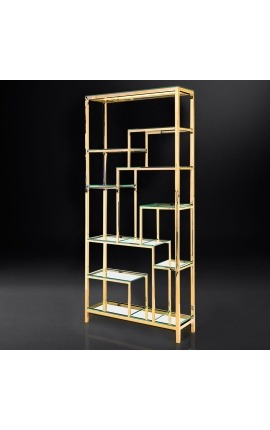 "Storage cabinet ""Aura"" gold-plated stainless steel and glass shelves"