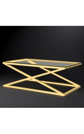 """Table basse """"Zephyr"""" en acier inoxydable doré et plateau en verre"""