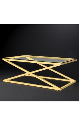 "Coffee table ""Zephyr"" in gold finish stainless steel and glass top"