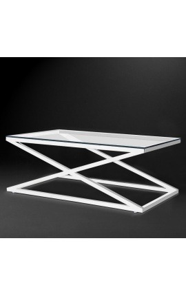 "Coffee table ""Zephyr"" in silver finish stainless steel and glass top"