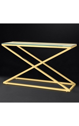 "Console ""Zephyr"" in gold finish stainless steel and glass top"