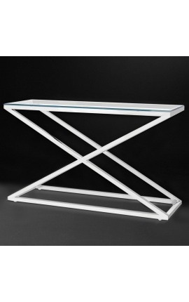 "Console ""Zephyr"" in silver finish stainless steel and glass top"