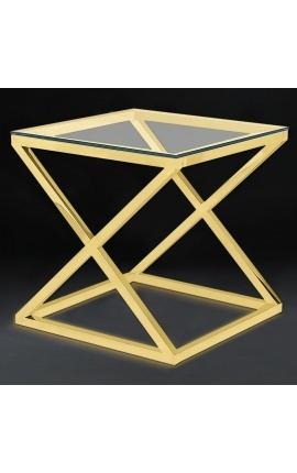 """Bout de canapé """"Zephyr"""" en acier inoxydable doré et plateau en verre"""