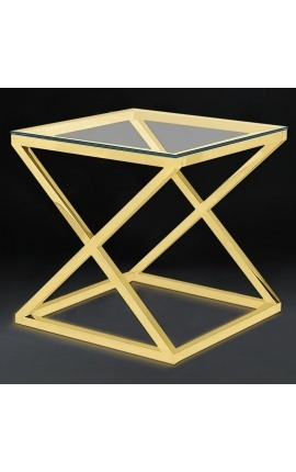 "Side table ""Zephyr"" in gold finish stainless steel and glass top"