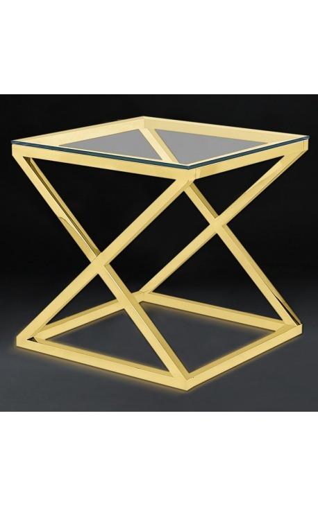 Боковой стол «Zephyr» из позолоченной нержавеющей стали и стекла