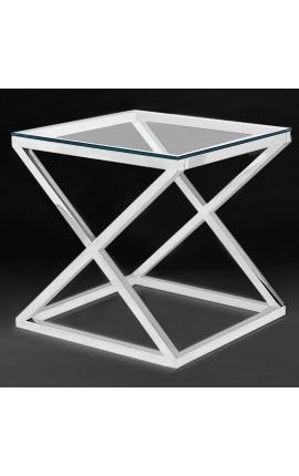 """Bout de canapé """"Zephyr"""" en acier inoxydable argenté et plateau en verre"""