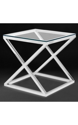 "Side table ""Zephyr"" in silver finish stainless steel and glass top"