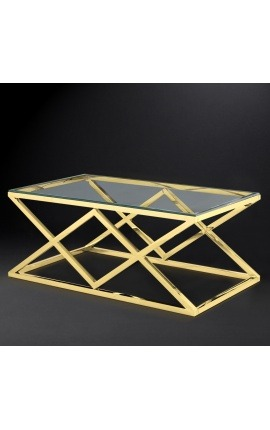 "Coffee table ""Nyx"" in gold color finish stainless steel and glass top"