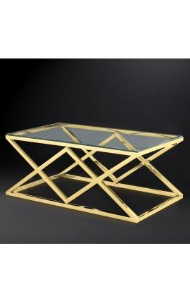 """Table basse """"Nyx"""" en acier inoxydable doré et plateau en verre"""