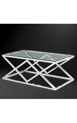 "Coffee table ""Nyx"" in silver color finish stainless steel and glass top"