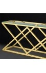 "Console ""Nyx"" in gold-plated stainless steel and glass top"