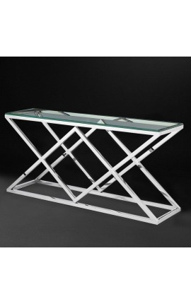 "Console ""Nyx"" in silver finish stainless steel and glass top"