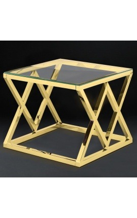 "Side table ""Nyx"" in gold finish stainless steel and glass top"