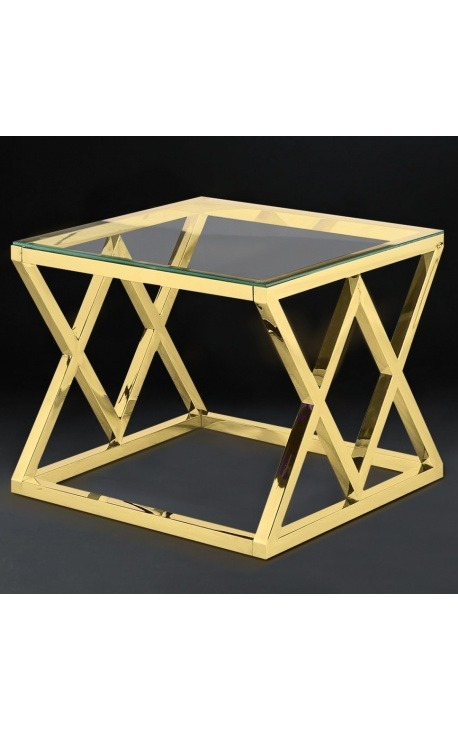 """Side table """"Nyx"""" in gold finish stainless steel and glass top"""