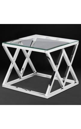 """Bout de canapé """"Nyx"""" en acier inoxydable argenté et plateau en verre"""