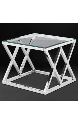"Side table ""Nyx"" in silver finish stainless steel and glass top"