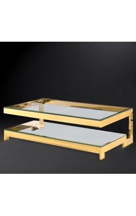"""Grande table basse """"Hermés"""" en acier inoxydable doré et plateau en verre"""