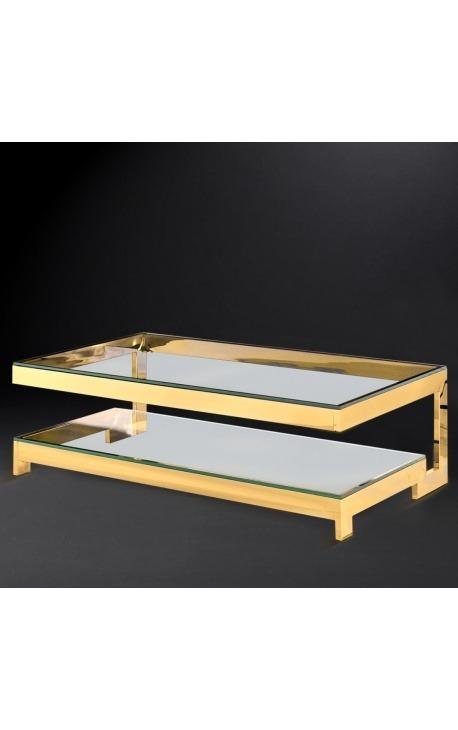 """Table basse """"Hermes"""" en acier inoxydable doré et plateau en verre"""