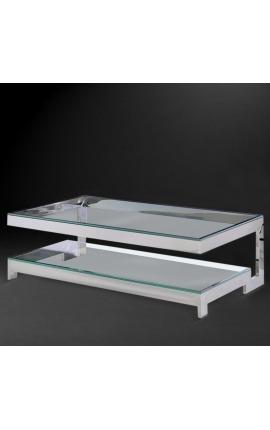 """Grande table basse """"Hermes"""" en acier inoxydable argenté et plateau en verre"""
