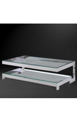 "Large coffee table ""Hermes"" in silver finish stainless steel and glass top"