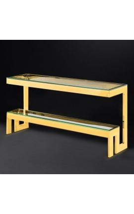 """Console """"Hermes"""" en acier inoxydable doré et plateau en verre"""