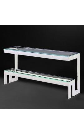 """Console """"Hermes"""" en acier inoxydable argenté et plateau en verre"""