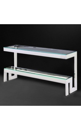 "Console ""Hermes"" in silver finish stainless steel and glass top"