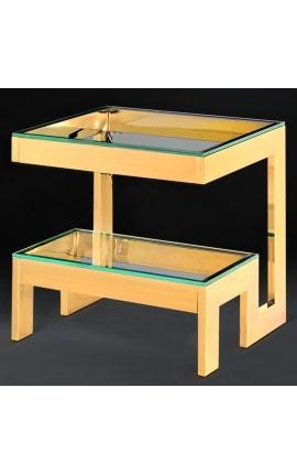 """Bout de canapé """"Hermes"""" en acier inoxydable doré et plateau en verre"""