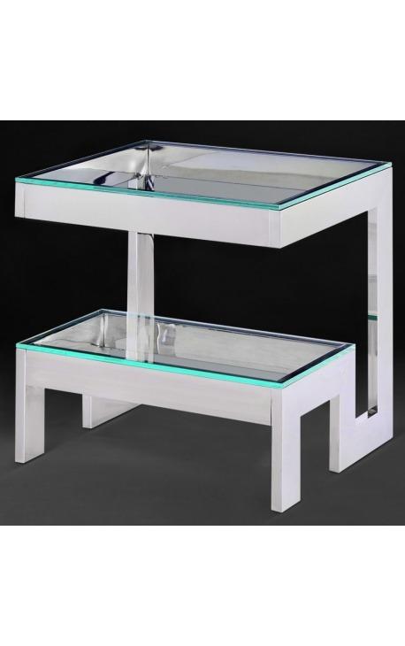 """Bout de canapé """"Hermes"""" en acier inoxydable argenté et plateau en verre"""