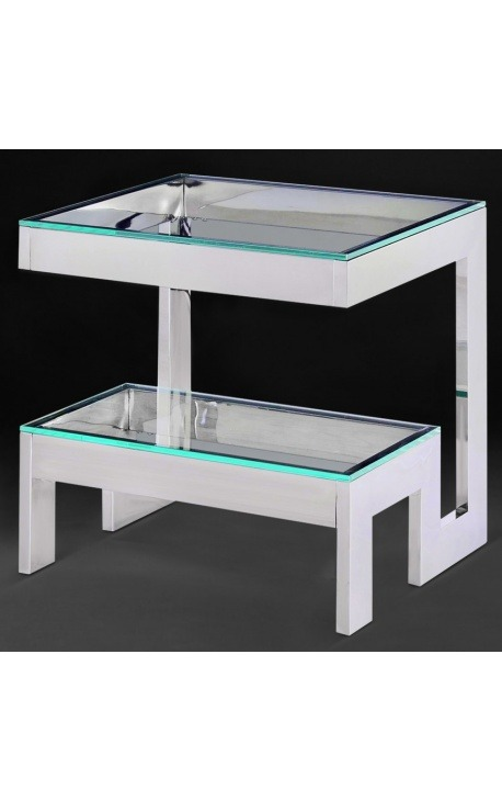 "Side table ""Hermes"" in silver finish stainless steel and glass top"