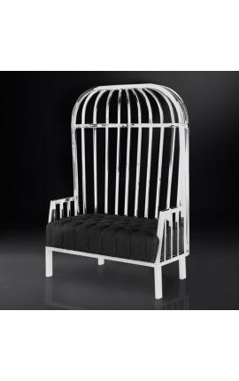 """Grand fauteuil carrosse """"Helios"""" en acier inoxydable argenté et lin noir"""