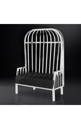 "Large porters chair ""Helios"" in silver finish stainless steel and black linen"