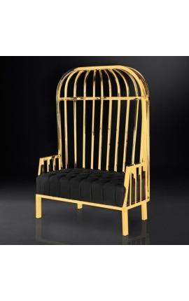 """Grand fauteuil carrosse """"Helios"""" en acier inoxydable doré et lin noir"""